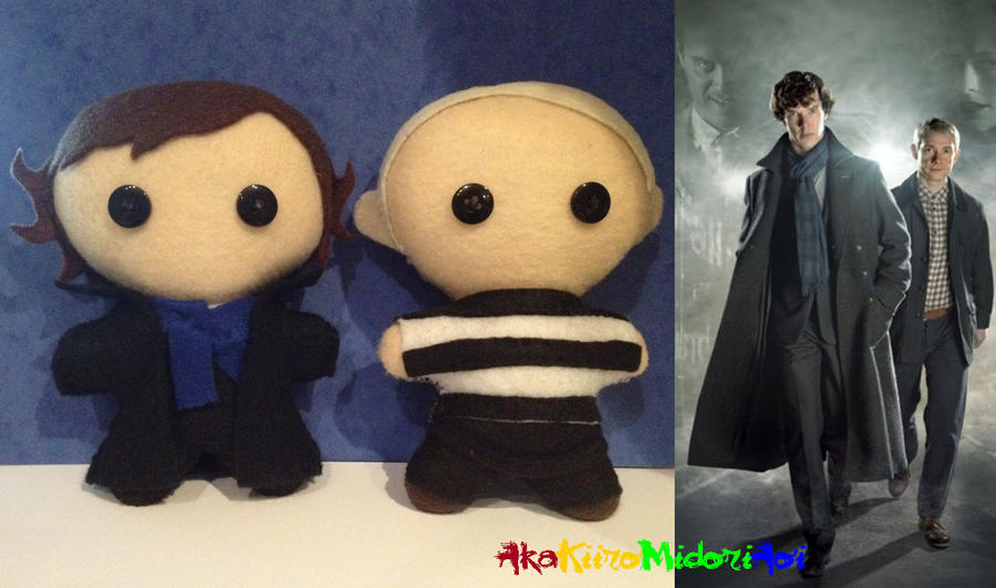 BBC Sherlock Plushes: Sherlock And John by AkaKiiroMidoriAoi