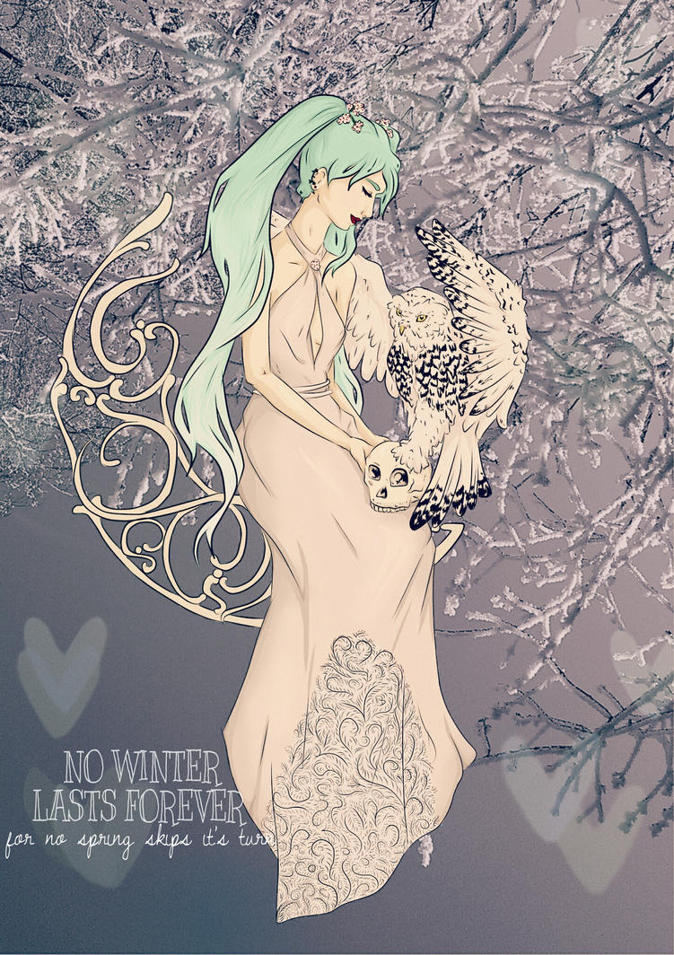 Miku's Winter, Jugenstil, Owl by nuriamoon