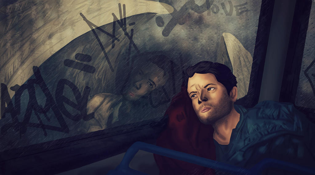 Castiel Reflection of an Angel (SUPERNATURAL) by nuriamoon