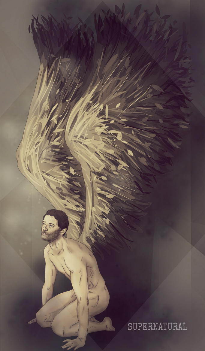 Castiels nude wings by nuriamoon