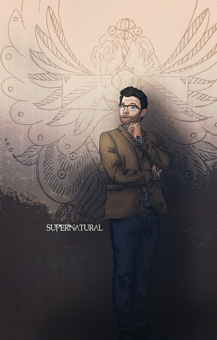 Castiel/ Misha, nerdy dude with wings/ hipster by nuriamoon