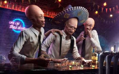 CG CHallenge - Ten  Drunk aliens