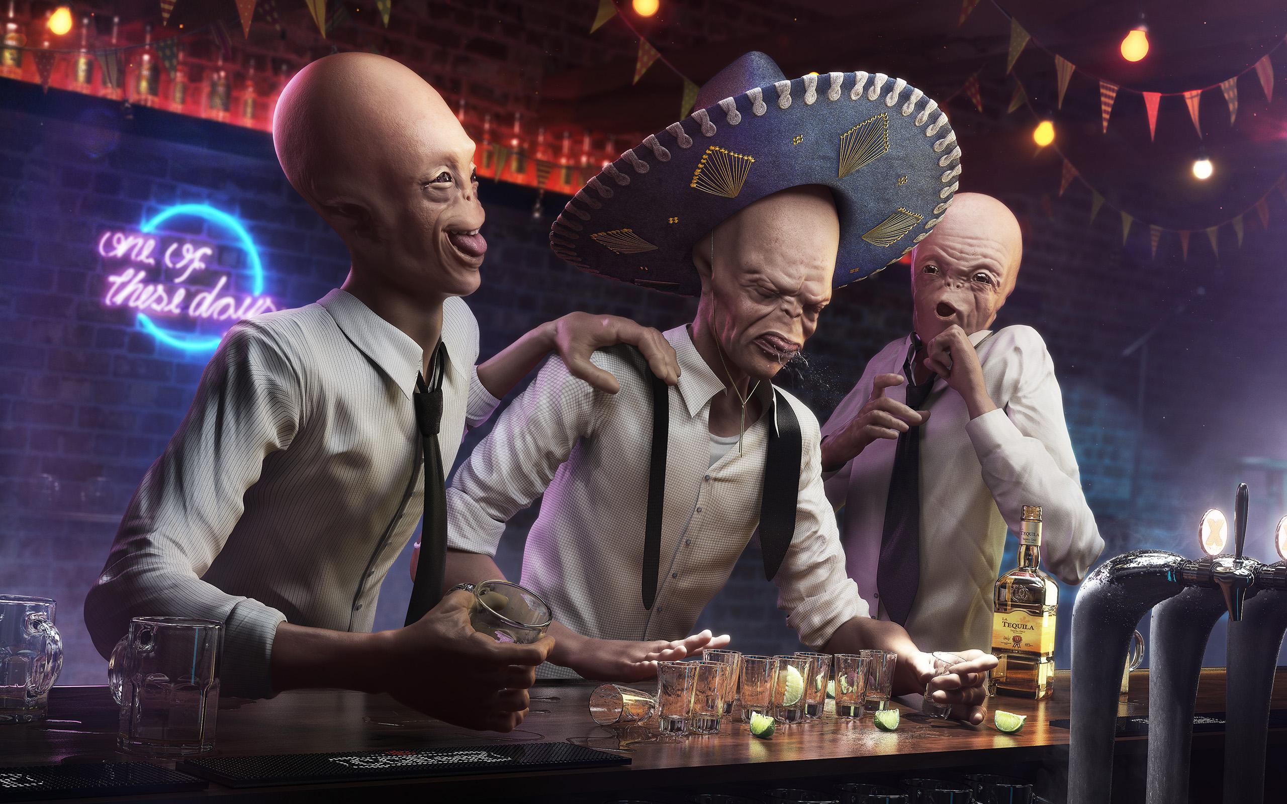 CG CHallenge - Ten  Drunk aliens by rafajija