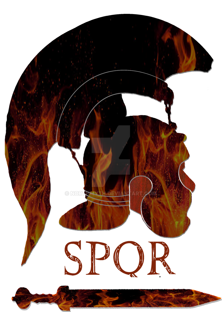 roman helmet with SPQR and gladius by Northmyth