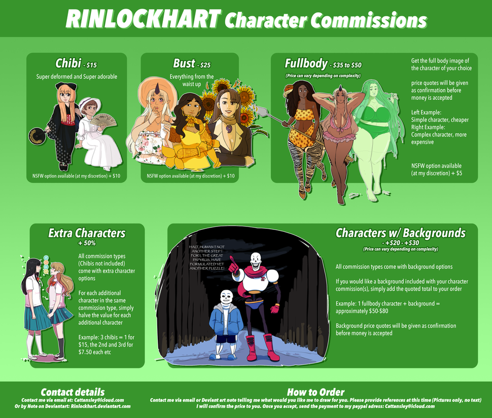 Commissions Price List *UPDATED REGULARLY* by RinLockhart