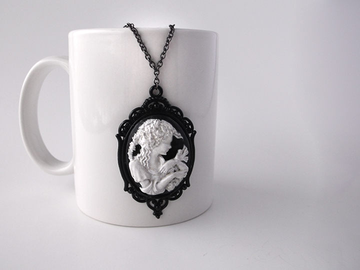 Stone Lady Hand Painted Cameo by tragicrabbit07