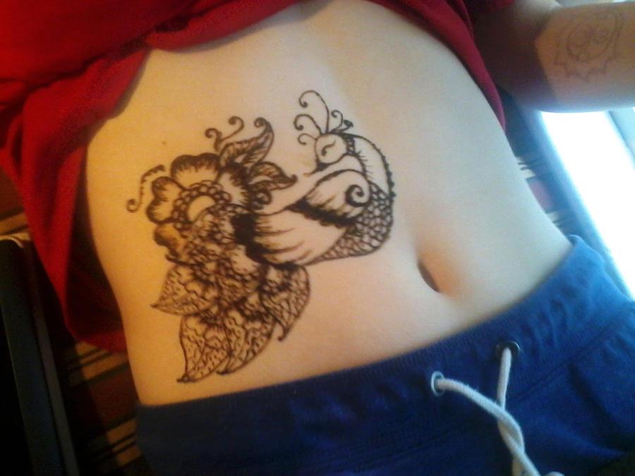 Mehndi Tattoo Stomach : Henna peacock by pennamore on deviantart