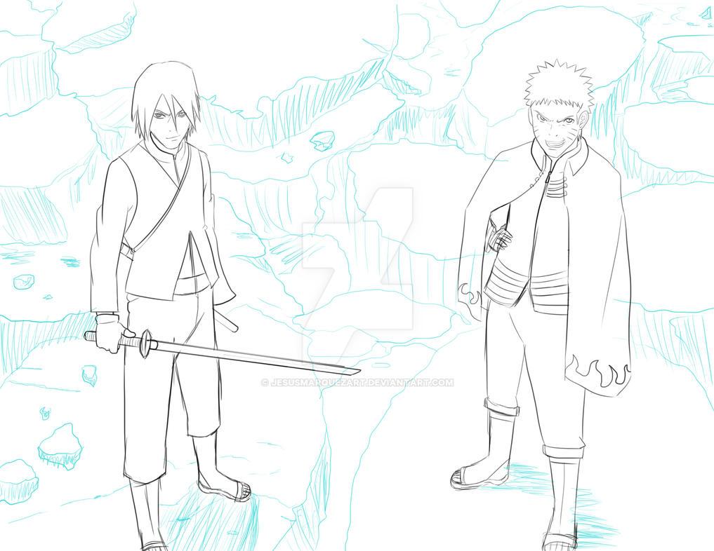 Sasuke Lineart : Naruto and sasuke rough sketch by jesusmarquezart on deviantart