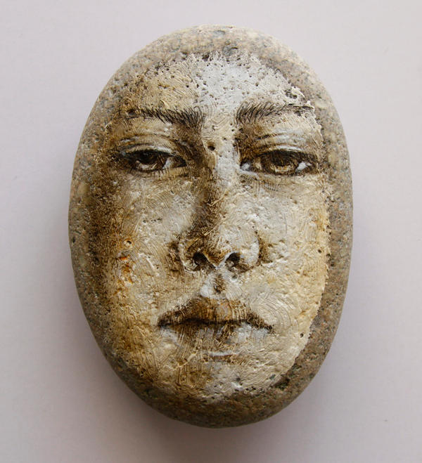 Portrait face on stone by LosOjosNegros