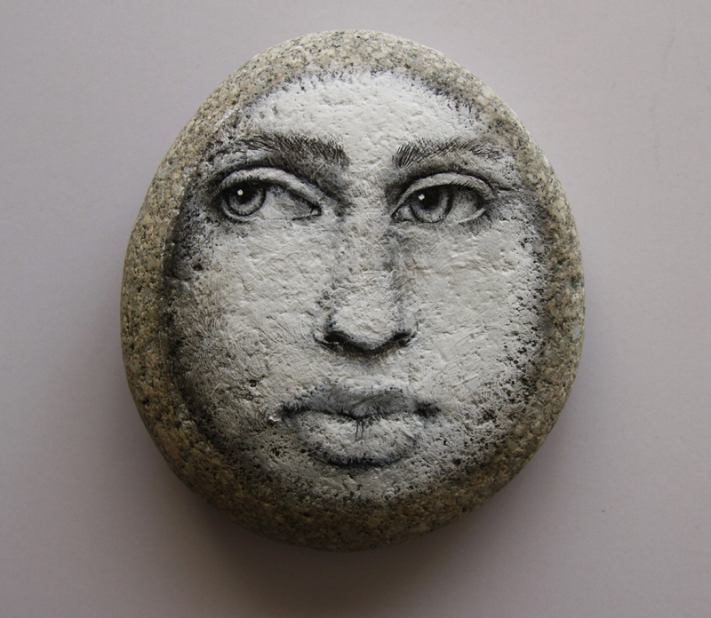 Moon Face on stone by LosOjosNegros