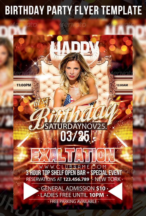 Birthday Party Flyer Template By Cerceicer On Deviantart