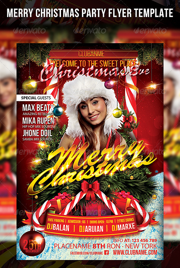 merry christmas party flyer template by cerceicer on deviantart