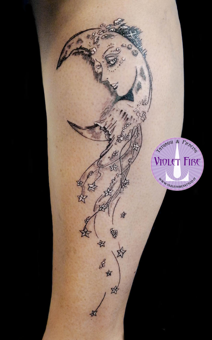 Moon-Lady Tattoo by Adam Raia by Violet-Fire-Tattoo