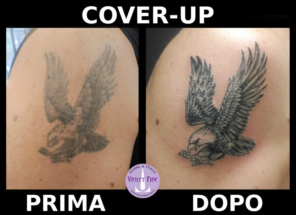 Cover-up old school eagle tattoo - Adam Raia by Violet-Fire-Tattoo