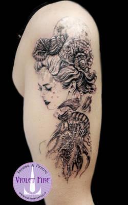 Marmaid tattoo, princess Toyotama-hime - Adam Raia