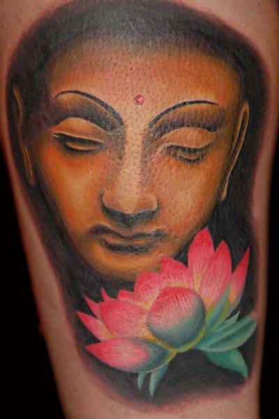 Buddha and lotus - flower tattoo