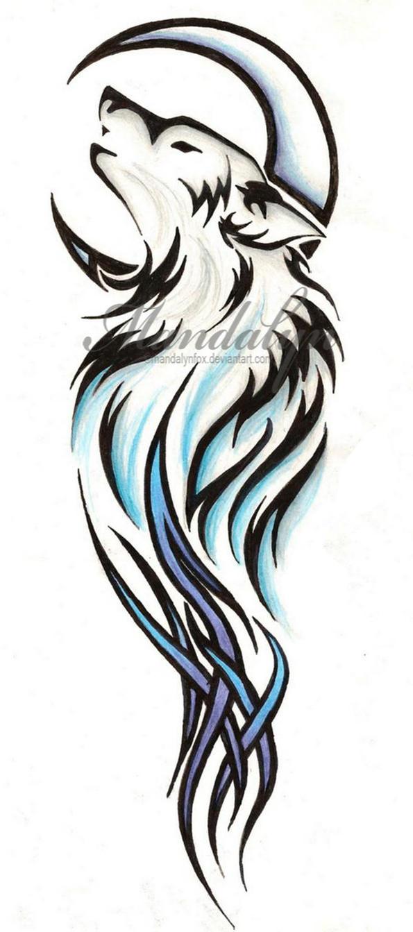 Tribal wolf tattoo by mandalynfox