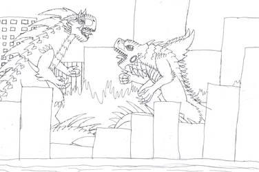 AT-Tyrannus vs Zilla WIP by LordLevithan422