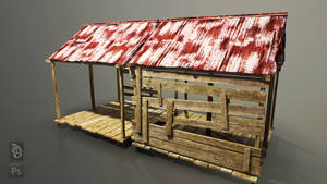 Tin Wood Shed (Free 3D Model FBX) by gearspec