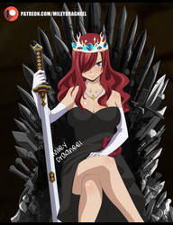Erza Scarlet in the Iron Throne by MileyDragneelVE