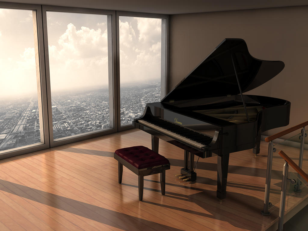 Piano room by imonkey89 on deviantart for Grand piano in living room