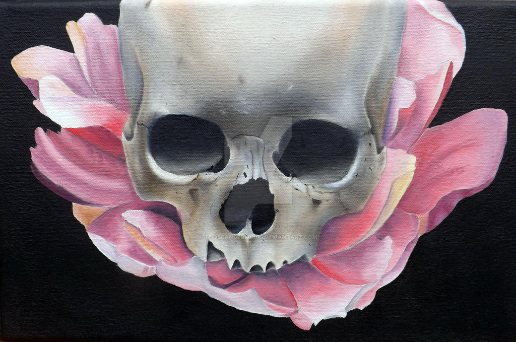Skull And Lotus Flower By Thoseangelwings On Deviantart
