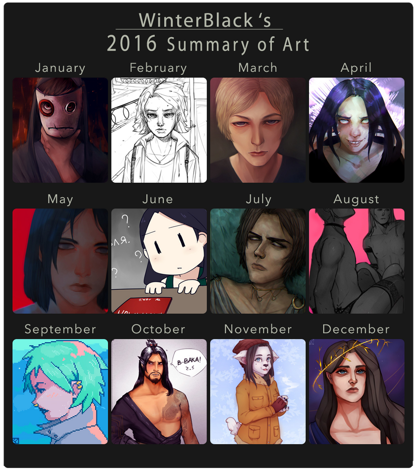 2016 Summary of art by WinterB