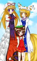Yukari, Ran and Chen by Vulpix-Noodles
