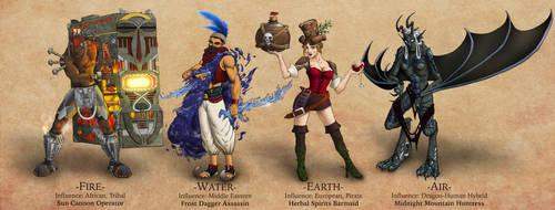 Four Elementalists by ImaginosWorkshop