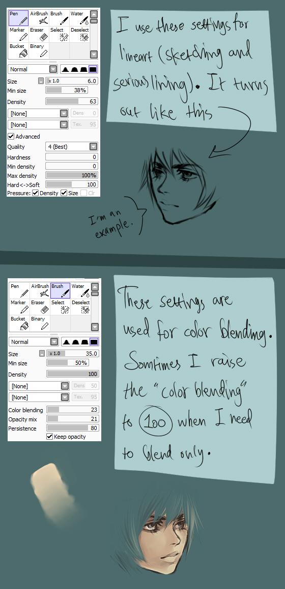 My SAI brush settings by Vylin
