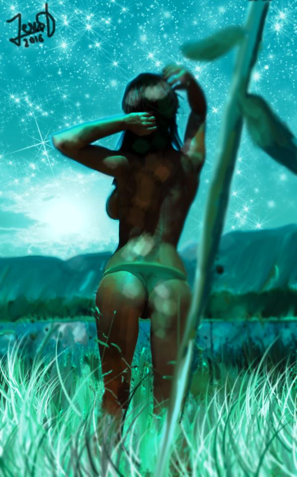 Woman In Lake Under Melancholic Sky by Dream-Bunker
