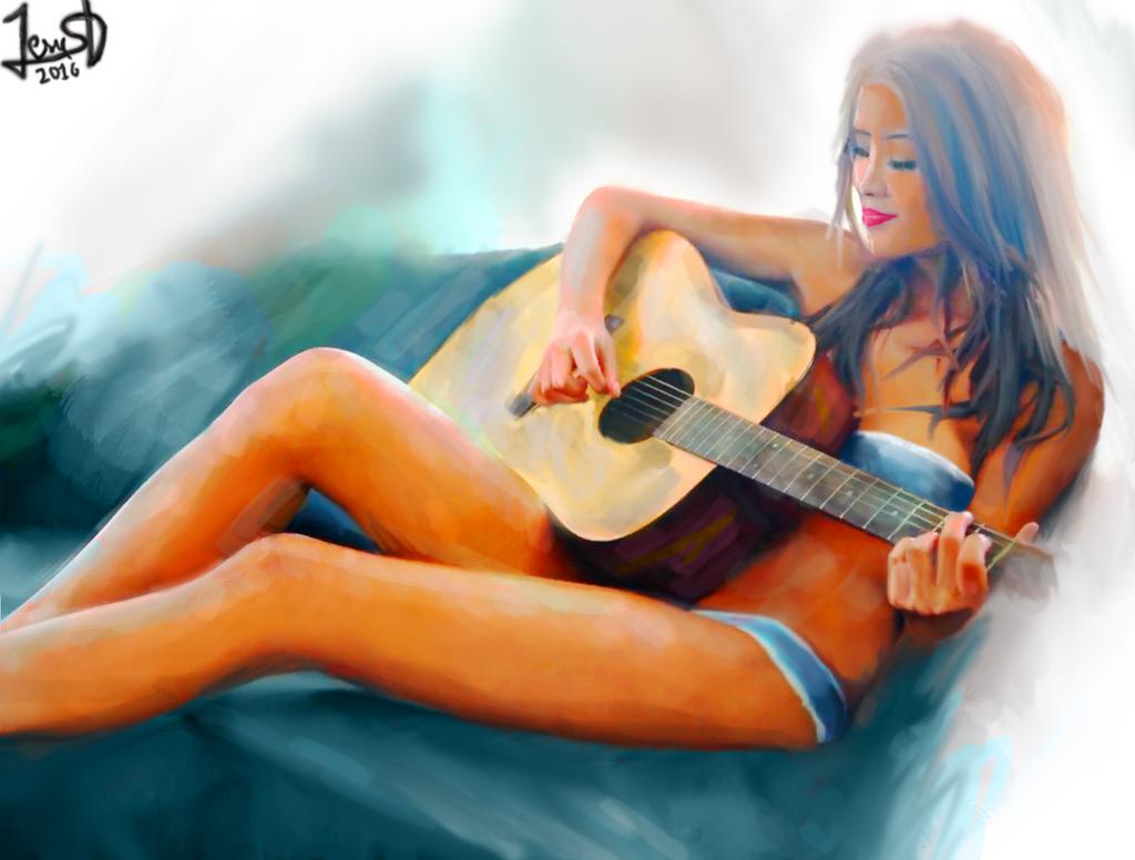Blue Girl Guitar by Dream-Bunker
