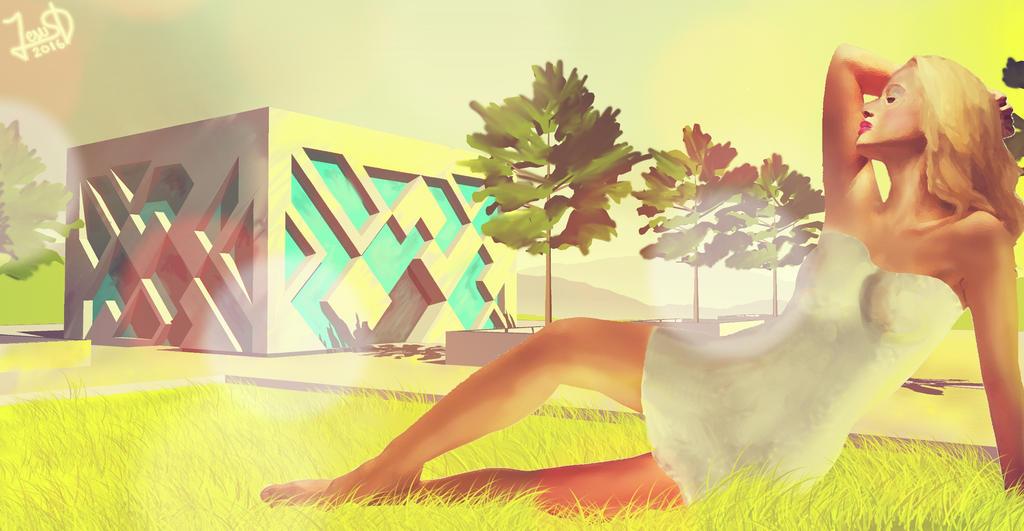 Mujer Edificio Cubo by Dream-Bunker