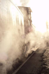 Train concealed in steam