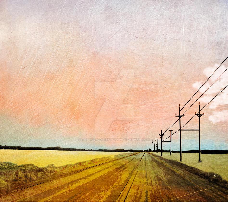 digital pop art modern and simple landscape print by thesodaartstudio