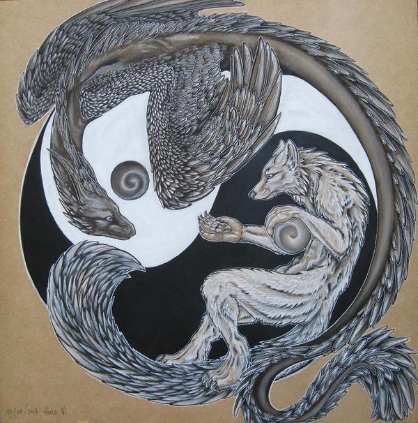 yin yang dragon wolf by chalkdragon on deviantart. Black Bedroom Furniture Sets. Home Design Ideas