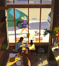 Cat cafe by snatti89