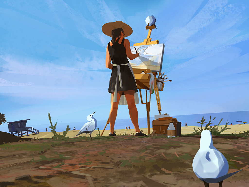 Painting at the beach by snatti89