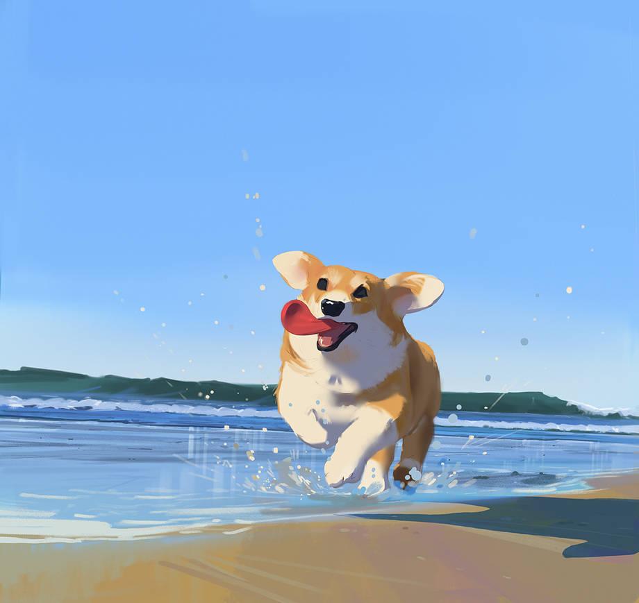 Corgi Beach Day by snatti89