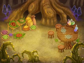 Luminare Saga - Common Eating Area and Market by BrettStebbins