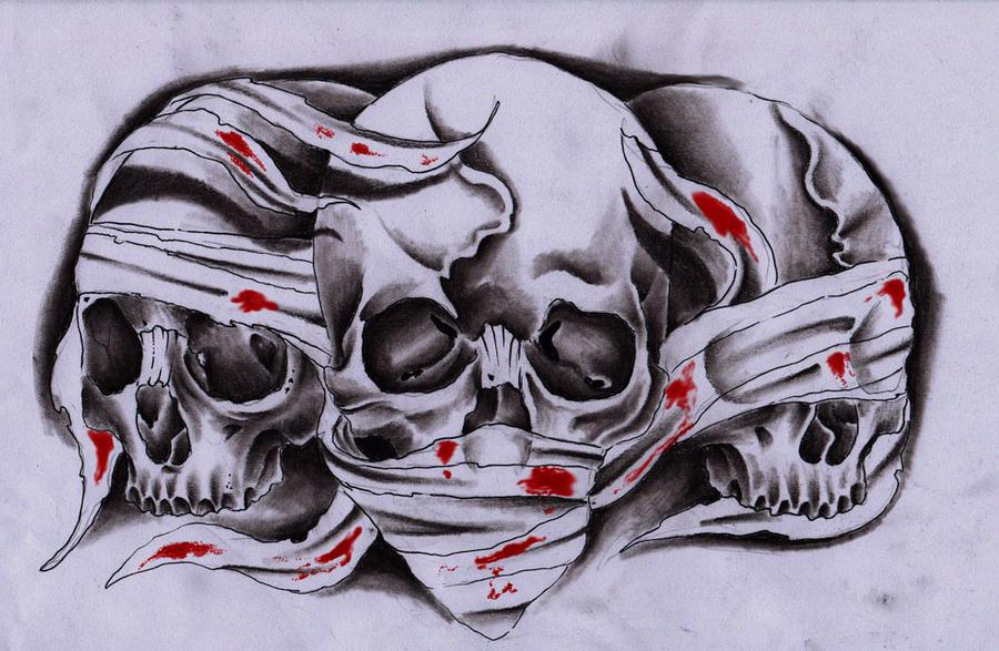3 skulls by unibody on deviantart. Black Bedroom Furniture Sets. Home Design Ideas