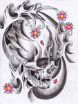 skull with waves by Unibody
