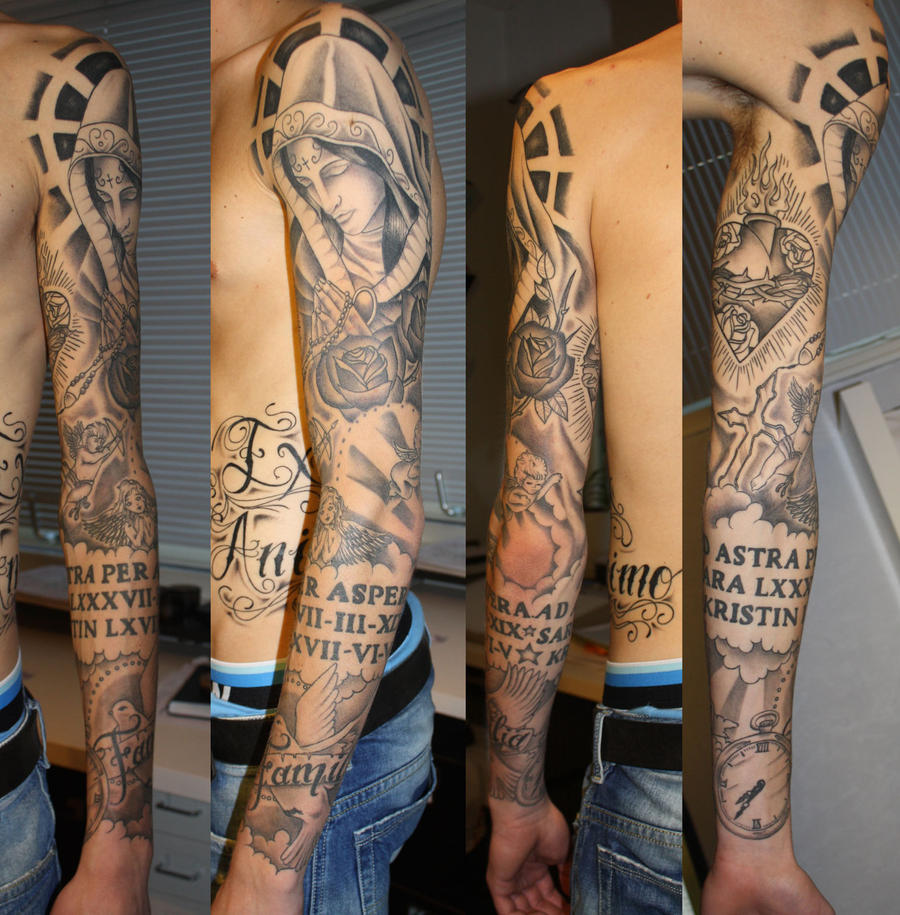 religious tattoo sleeve by Unibody