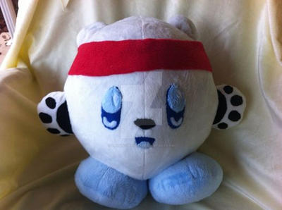 Polar Bear Kirby Commission (with red bandana) by PlushQueenDIY