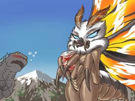 Mothra has a drink problem