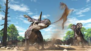 Medusaceratops and raptor by PaleoGuy