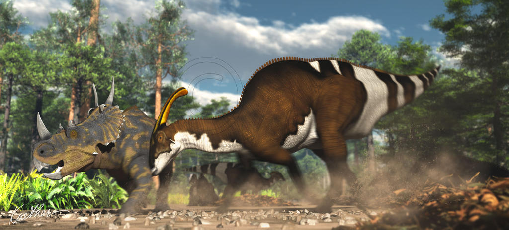 Spinops and Parasaurolophus nesting ground