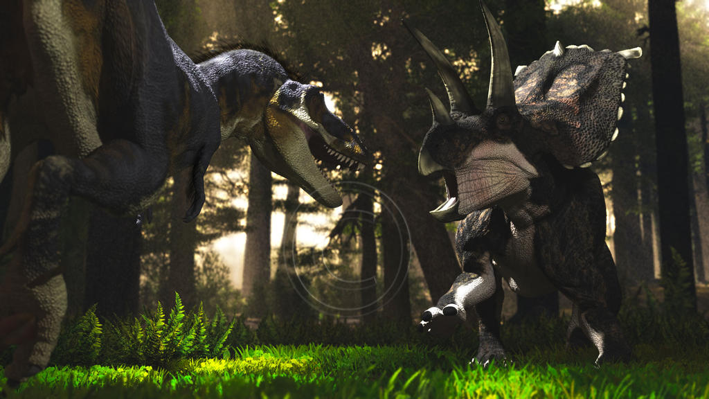 Daspletosaurus and Bravoceratops by PaleoGuy