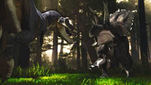 Daspletosaurus and Bravoceratops by PaleoGuy
