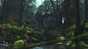 Alioramus and Shantungosaurus by PaleoGuy